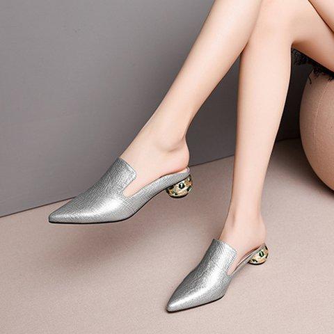 Date Pointed Toe Genuine Leather Special Heel Slide Mule Pumps