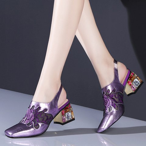 Stylish Genuine Leather Square Toe Special Heel Pumps