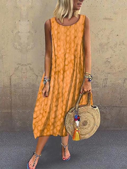 Crew Neck Women Dresses A-Line Outdoor Geometric Dresses