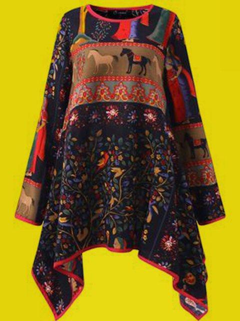 Women Navy Blue Tribal Vintage Round Neck Shirts & Tops