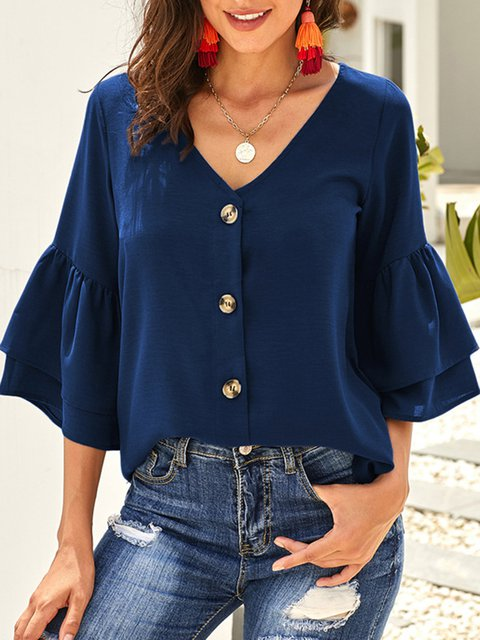 Ruffle 3/4 Sleeve V-neck Buttoned Blouse Tops