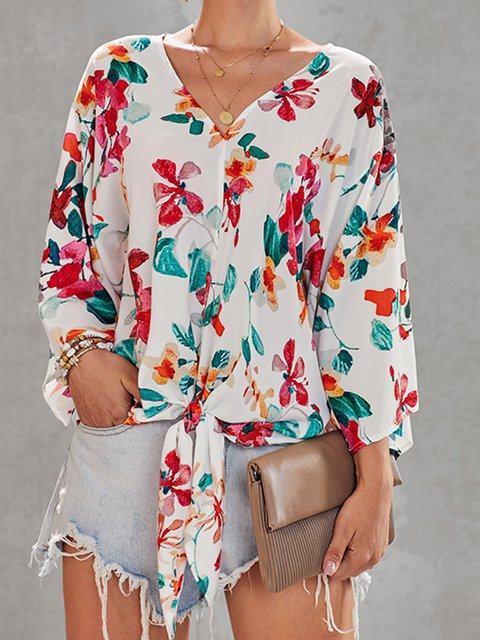 Plus size Floral Printed Batwing V-neck Blouse Tops