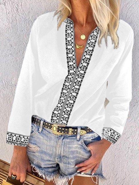 Vintage Printed V-neck Long Sleeves Blouse Tops
