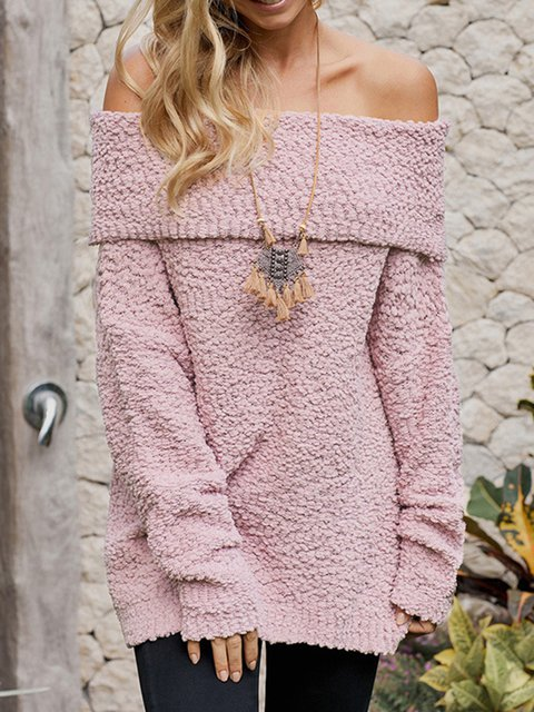 Long Sleeve Solid Off Shoulder Knitted Sweaters