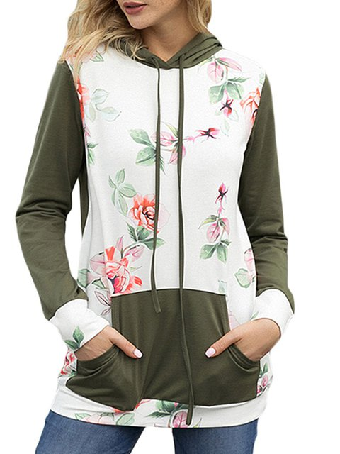 Long Sleeve Pockets Cotton-Blend Casual Hoodies