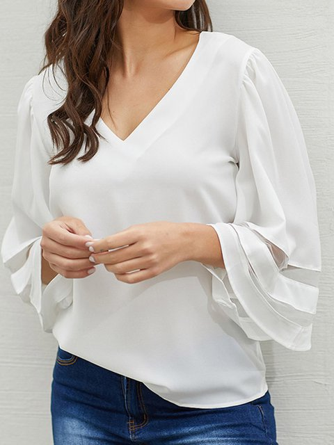 Patchwork Solid Bell 3/4 Sleeves V-neck Blouse Tops