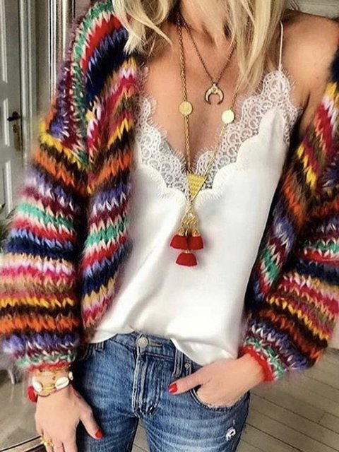 Loose Fit Multicolor Women 2019 Short Knitted Cardigans