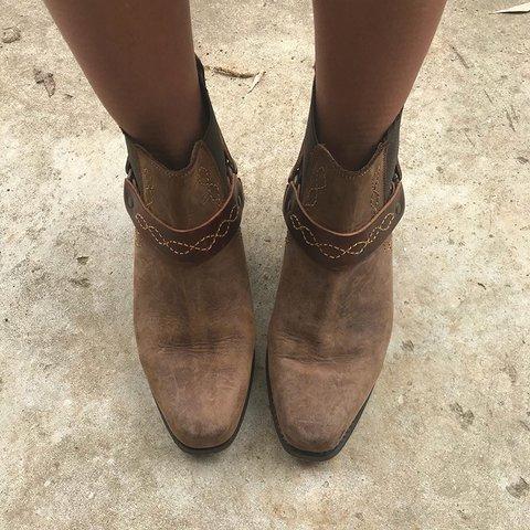 Vintage Slip-On Boots Low Heel Boho Western Women Ankle Booties
