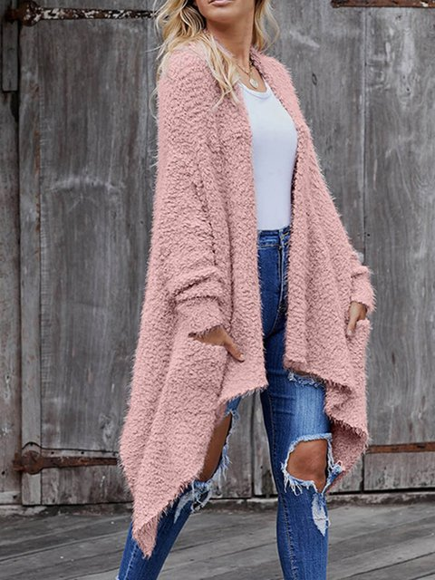 Flounce Solid Knitted Sweater Cardigans Coat Tops