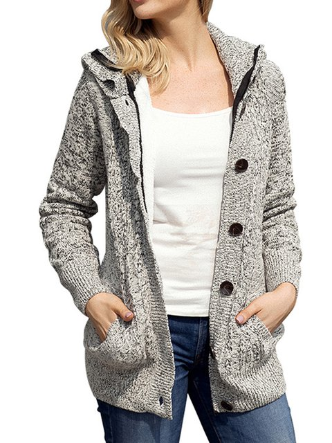 Buttoned Solid Hoodies Coat Outwear Tops