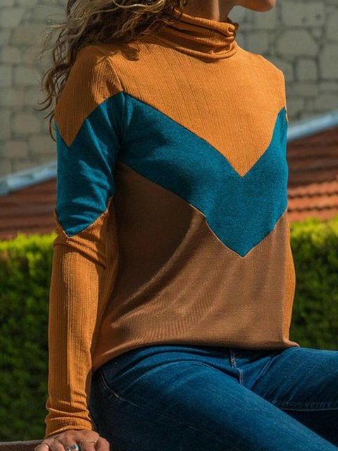 Winter Daytime As Picture Geometric Turtleneck Casual Shirts