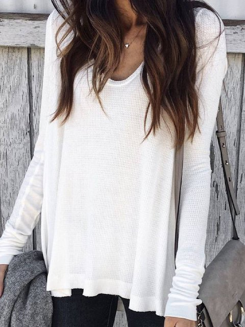 White Long Sleeve Cotton-Blend Round Neck Shirts & Tops