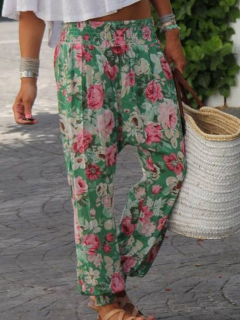 Printed Floral Cotton Casual Pants