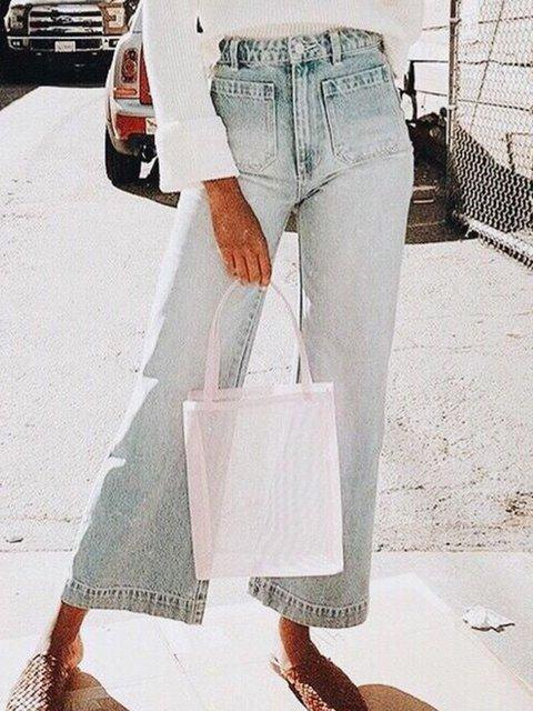 Denim Pockets Buttoned Cotton Casual Pants