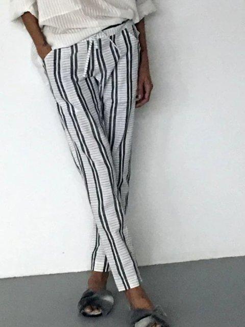 Printed Holiday Pockets Stripes Pants