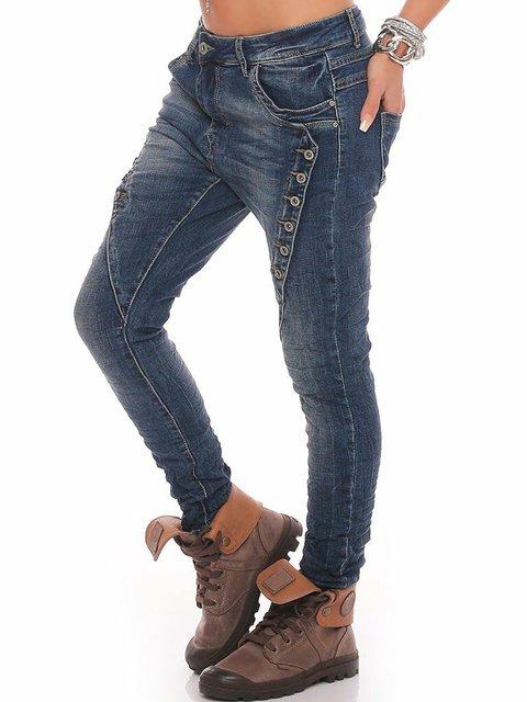 Symmetrical Button Decor Plus Size Denim Pants Jeans