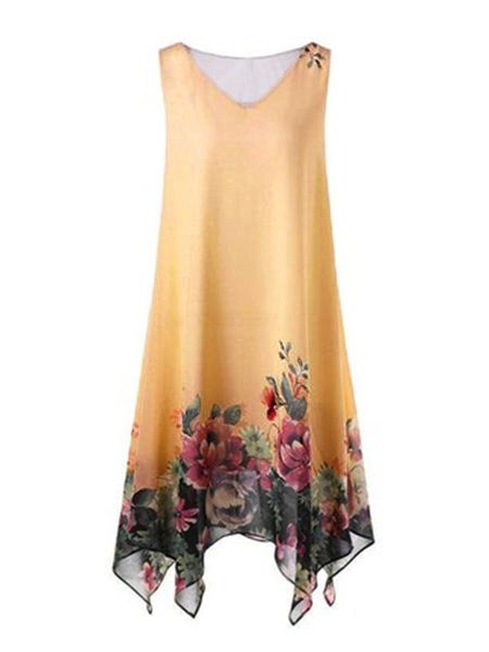 Plus Size Sleeveless Floral Print Casual Long Camis