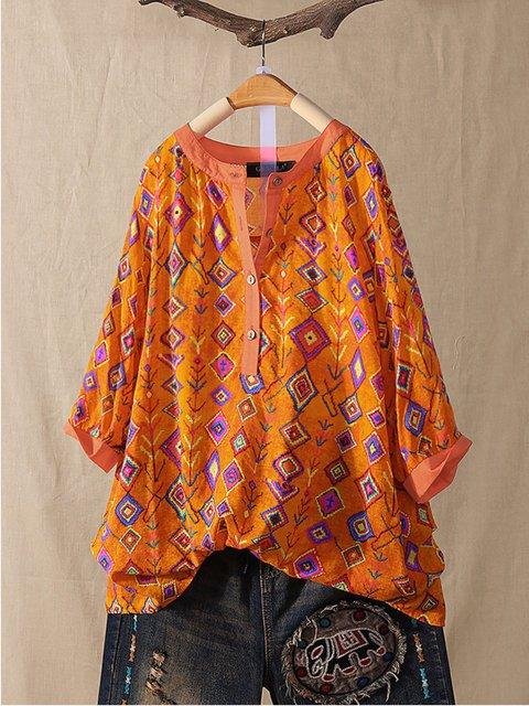 Folk Style Print Patchwork Vintage Blouse Shirt Dress