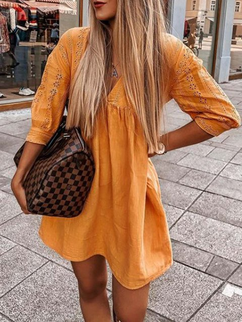 Orange V Neck Long Sleeve Dresses