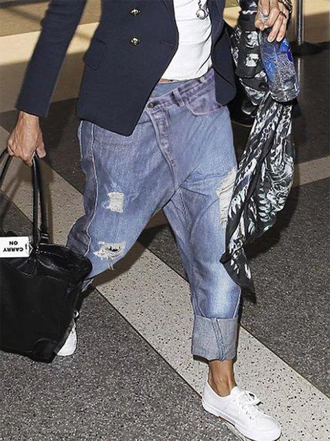 Irregular waist  Plus Size Denim Pants Jeans