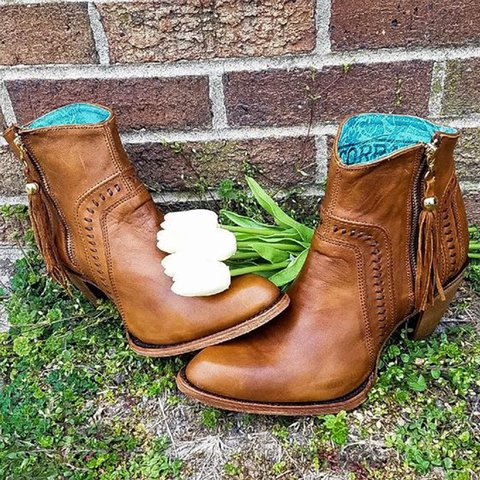 Brown Holiday Winter Tassel Boots