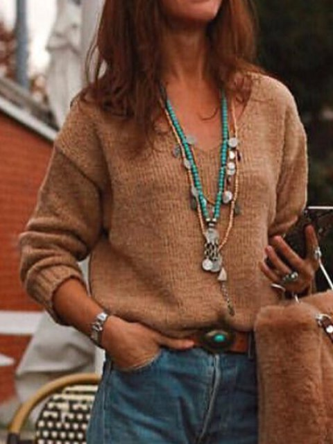 Coffee Knitted V Neck Casual Solid Shirts & Tops