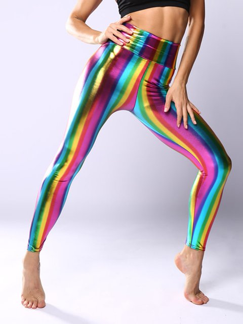 Metal texture gradient color imitation leather leggings hot stamping laser pants sexy leggings