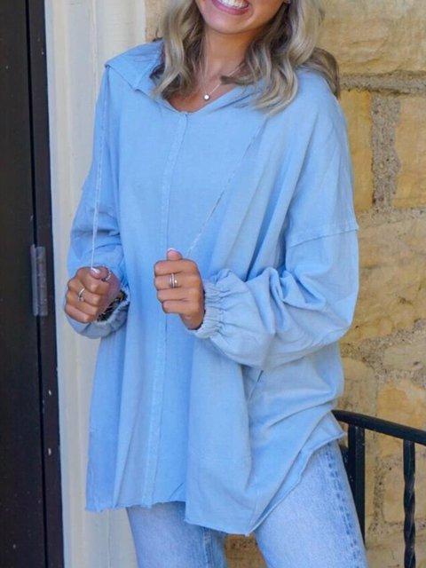 Plus Size Casual Solid Long Sleeve Hoodie Tops