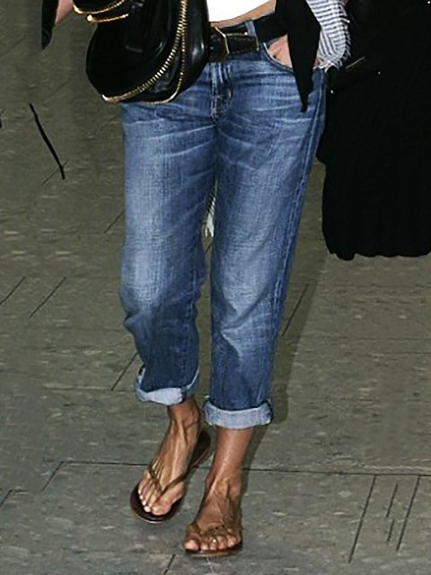 Roll Up Denim Pants Jeans