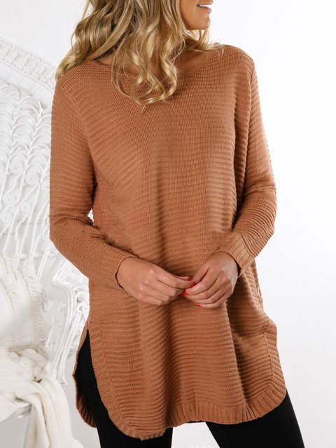Knitted Long Sleeve Plain Sweater