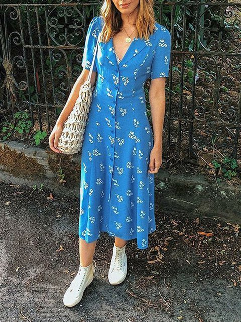 Printed Floral V Neck Women Dresses Going Out Casual Cotton Dresses