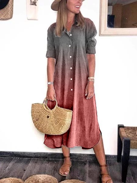Plus Size Half Sleeve Casual Shirt Dresses
