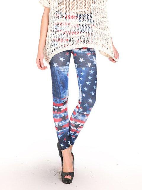 Printing tie dyed American flag leggings foreign trade nine pants wholesale tattoo leggings