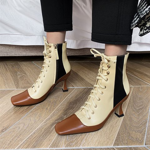 Vintage Color Block Genuine Leather Square Toe Kitten Heel Boots