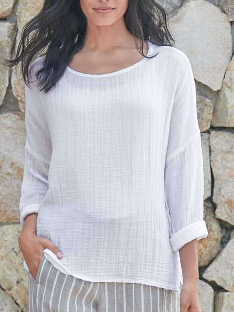 Casual Plain Cotton Soft Shirts & Tops