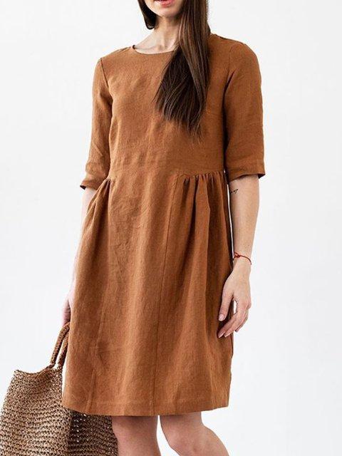 Casual Plain Cotton Dresses