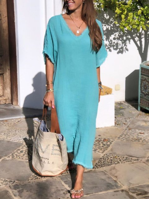 Plus Size Casual Solid V Neck Short Sleeve Maxi Dresses