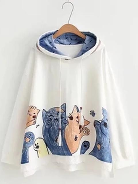 Animal Long Sleeve Cotton Casual Shirts & Tops