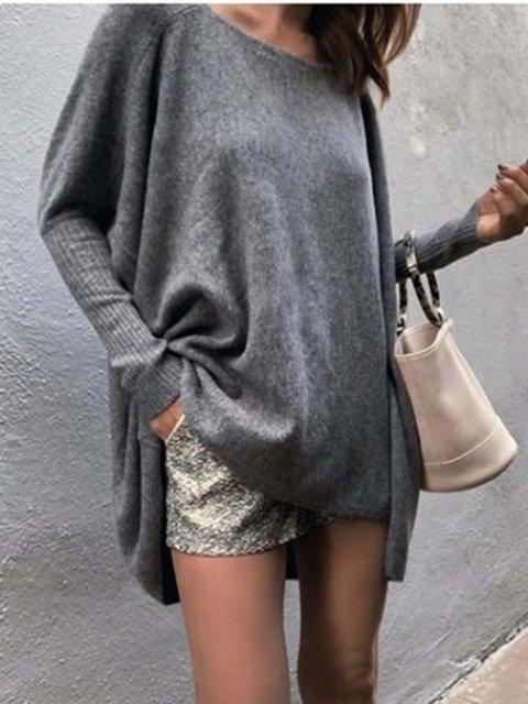 Gray Long Sleeve Casual Shirts & Tops