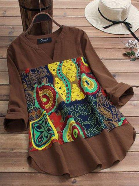 Women Brown Tribal Casual V Neck Shirts & Tops