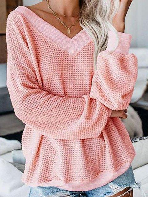 Pink Linen Shift Plain Long Sleeve Shirts & Tops