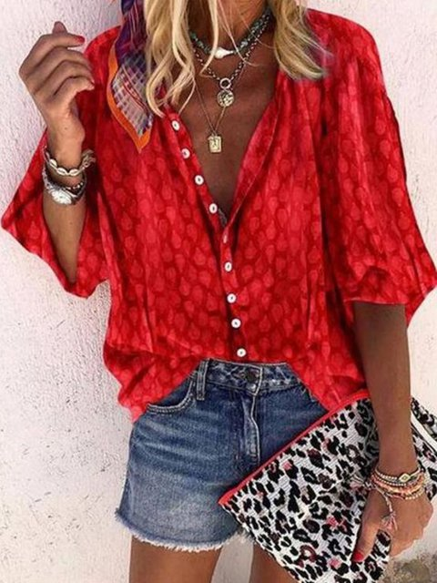 Red Cotton Half Sleeve Shift V Neck Shirts & Tops