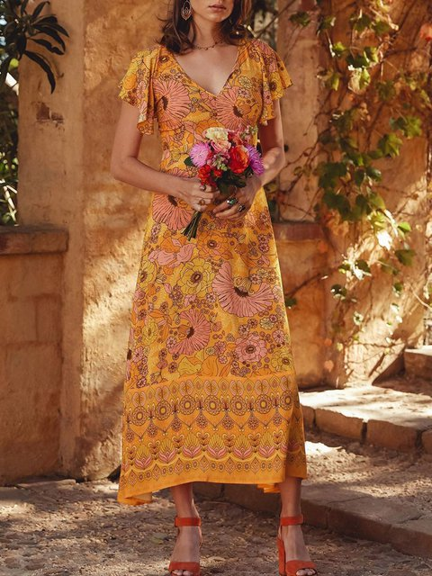 Printed Tribal V Neck Women Dresses Going Out Floral Dresses