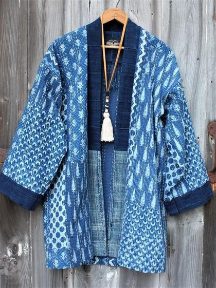 Blue Long Sleeve Cotton Outerwear
