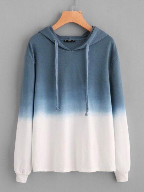 Blue Long Sleeve Hoodie Ombre/tie-Dye Outerwear
