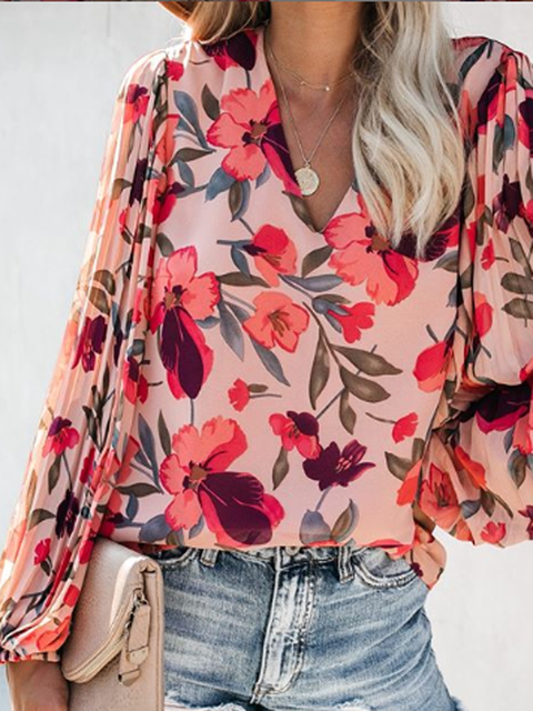 Red Cotton-Blend Long Sleeve V Neck Floral Shirts Tops