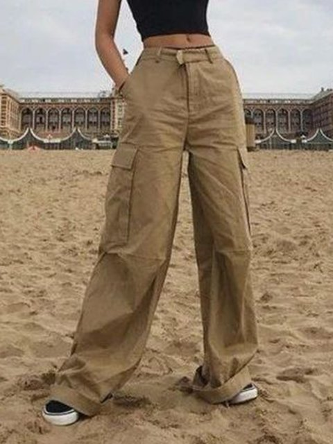 Women Pockets Casual Vintage Solid Pants