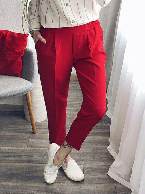 Plus Size Women Pockets Casual Shift Capri Pants