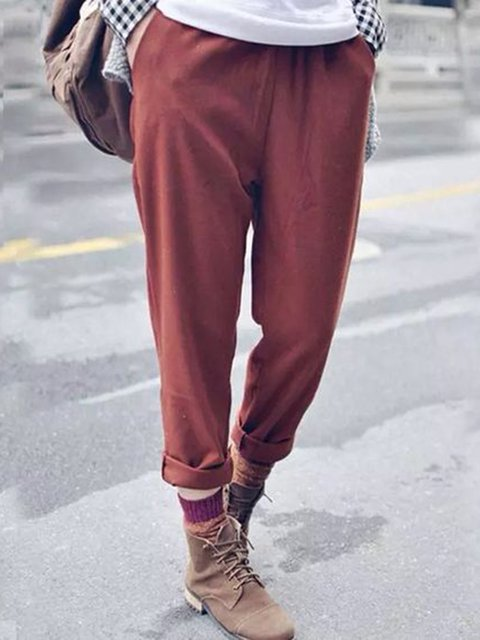 Plus Size Pockets Solid Casual Shift Pants