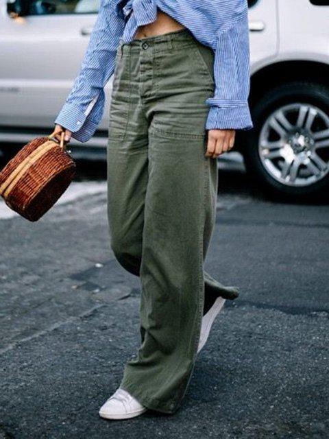 Women Pockets Wide Leg Solid Casual Pants